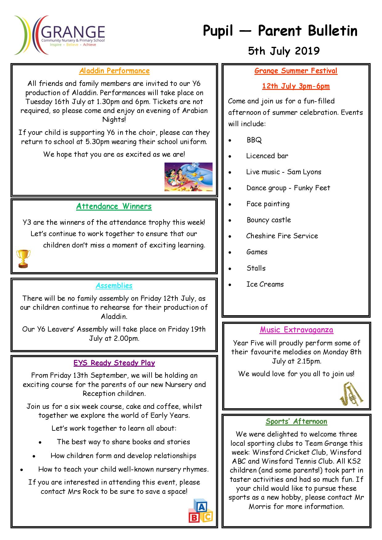 Bulletin | Grange Community Primary School | Winsford